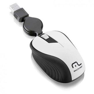 Mouse Óptico Retrátil 1200Dpi Usb Branco Multilaser