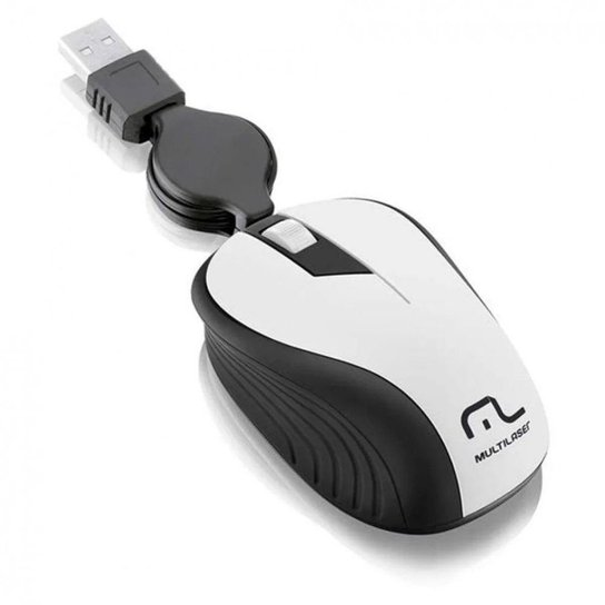 Mouse Óptico Retrátil 1200Dpi Usb Branco Multilaser - Branco