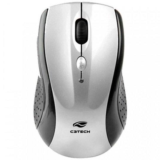 Mouse sem Fio C3 Tech M-W012SI V2 - 2.4GHz - 1600dpi - 6 botões - Preto e Prata - Preto