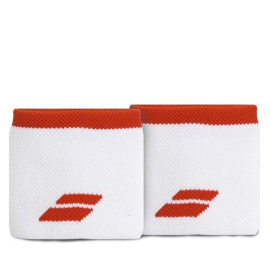 Munhequeira Babolat Logo Curta com 02 Unidades Branca e Vermelha - Branco