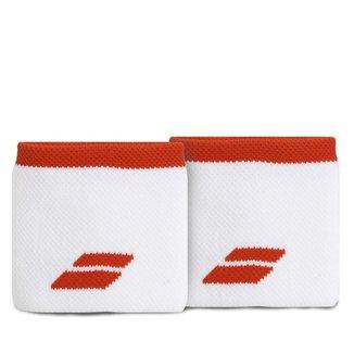 Munhequeira Babolat Logo Curta com 02 Unidades Branca e Vermelha
