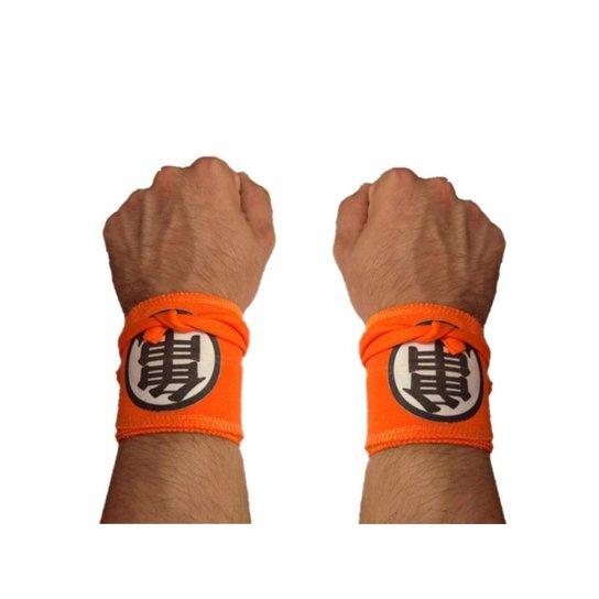 Munhequeira Tecido Crossfit Calistenia Lpo Musculação Dragon Ball Strong Fist - Laranja