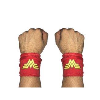Munhequeira Tecido Crossfit Calistenia Lpo Musculação Mulher Maravilha Strong Fist