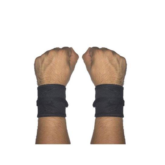 Munhequeira Tecido Crossfit Calistenia Lpo Musculação Strong Fist - Preto