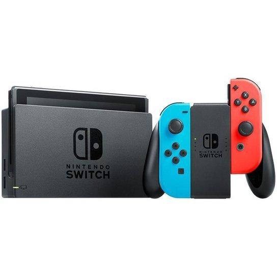 Nintendo Switch 32GB HAC-001-01 1 Controle Joy-Con - Azul+Vermelho