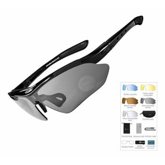 Óculos Ciclismo Rockbross Polarizado Preto  Esportivo 5 Lentes Modelo 0089