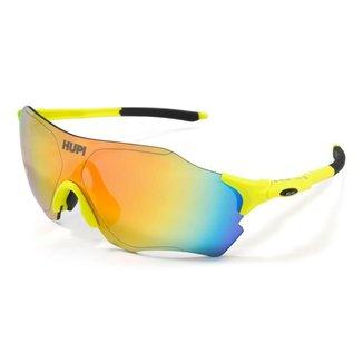 Óculos de Ciclismo Hupi Fuego Proteção UV Amarelo/Preto Lente Amarelo Espelhado