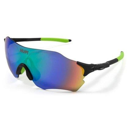 Óculos de Sol Ciclismo HUPI Fuego Proteção UV Preto/Verde Lente Verde Espelhado