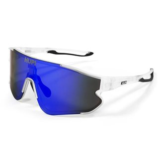 Óculos de Sol Ciclismo Masculino HUPI Bornio Cristal/Preto Lente Azul Espelhado