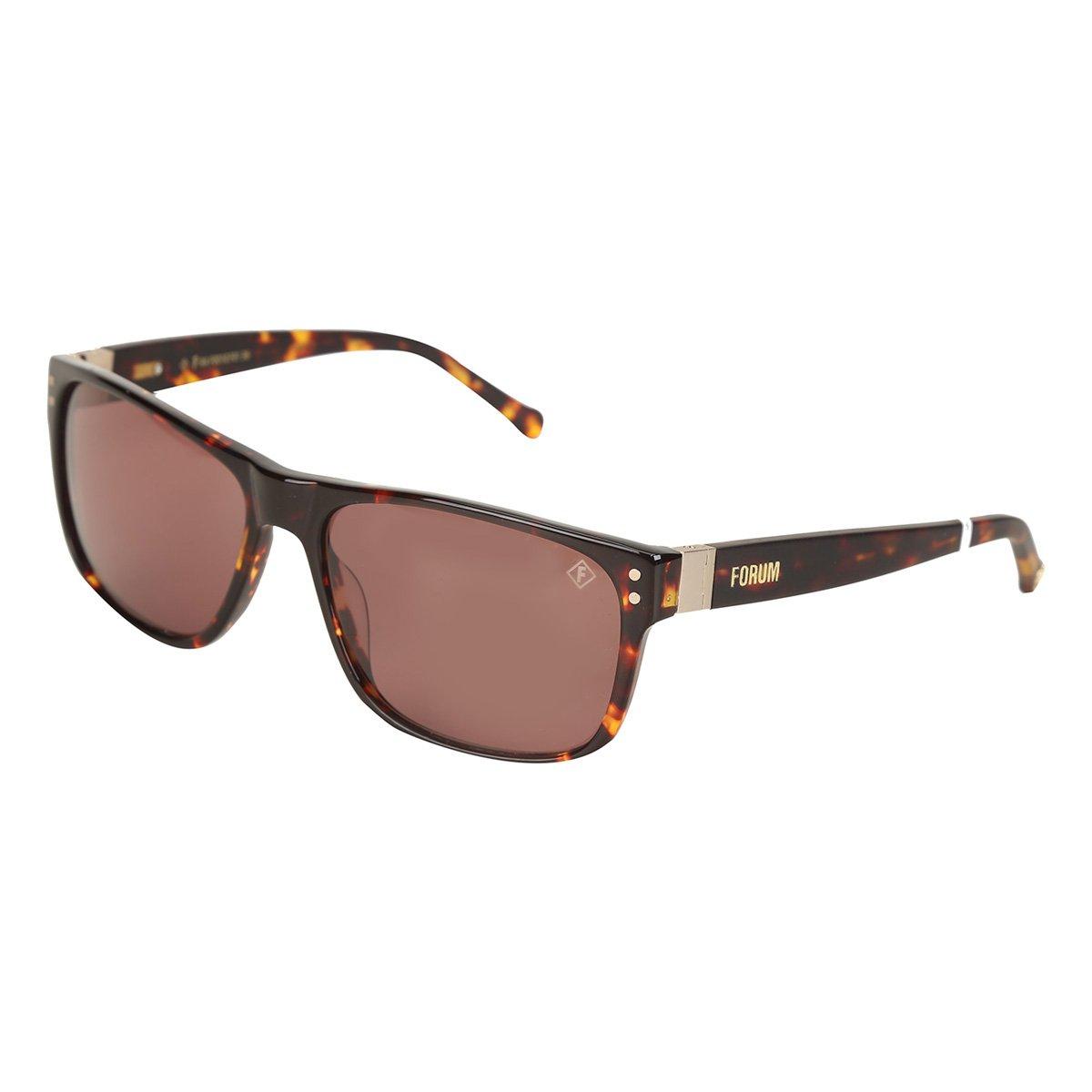 faebc84f6d836 Óculos de Sol de Sol Forum F0010F0136 Masculino - Marrom - Compre Agora