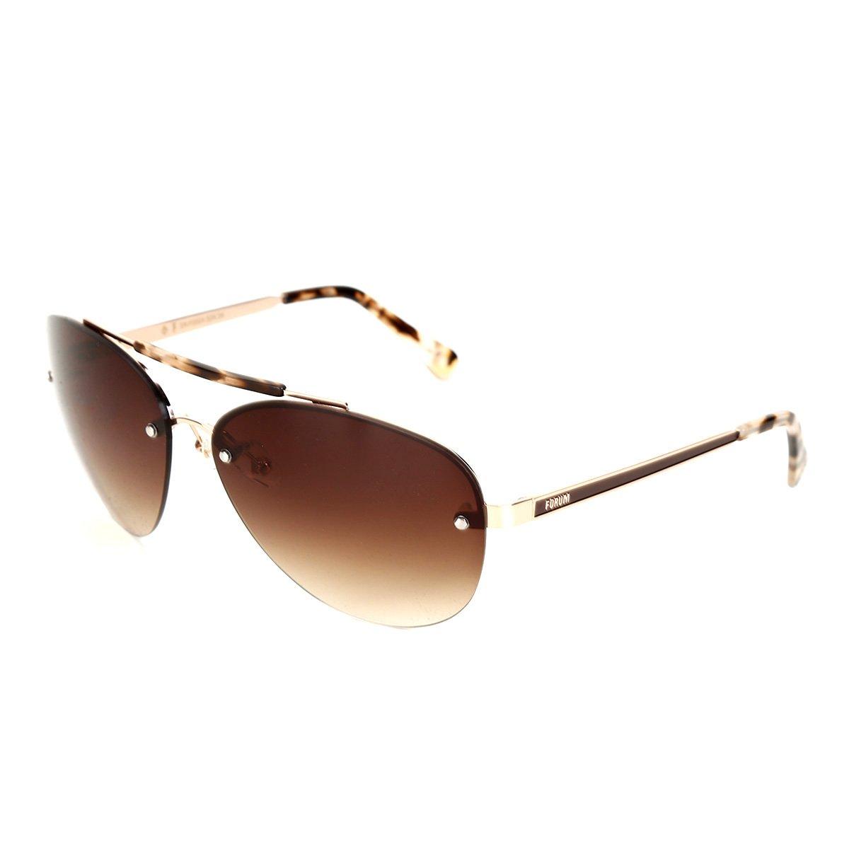 d3d09e6d6fc3f Óculos de Sol Forum Dourado Marrom Masculino - Compre Agora