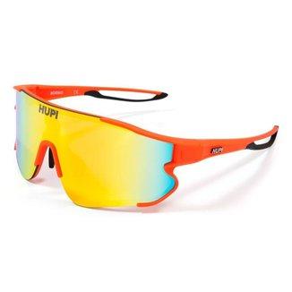 Óculos de Sol HUPI Bornio Laranja/Preto Lente Laranja Espelhado Performance para Ciclismo e Corrida