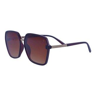 Óculos de Sol Mackage Feminino Acetato Quadrado Oversize - Marrom/dourado