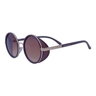 Óculos de Sol Mackage Masculino Acetato Redondo Steampunk Couro - Dourado/marrom