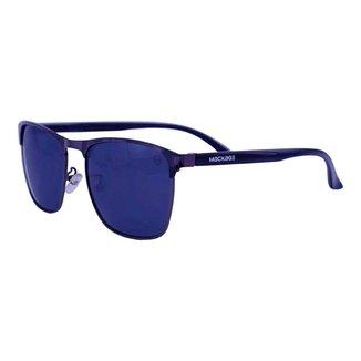 Óculos De Sol Mackage Unissex Metal-Acetato Retangular - Grafite/Preto