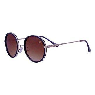 Óculos De Sol Mackage Unissex Metal Redondo - Dourado/Marrom