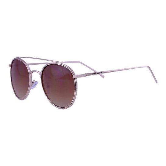 Óculos De Sol Mackage Unissex Metal Round - Dourado - Dourado+Marrom