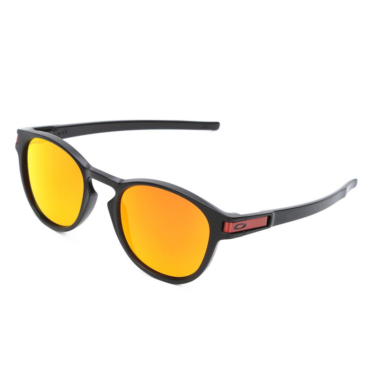 405da3199d1c0 Óculos de Sol Oakley Latch Masculino - Preto e Laranja - Compre Agora