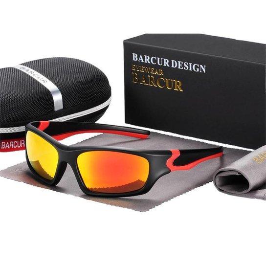 Óculos de Sol Polarizado Esportes Radicais Super Proteção BARCUR - Modelo 3328 - Laranja