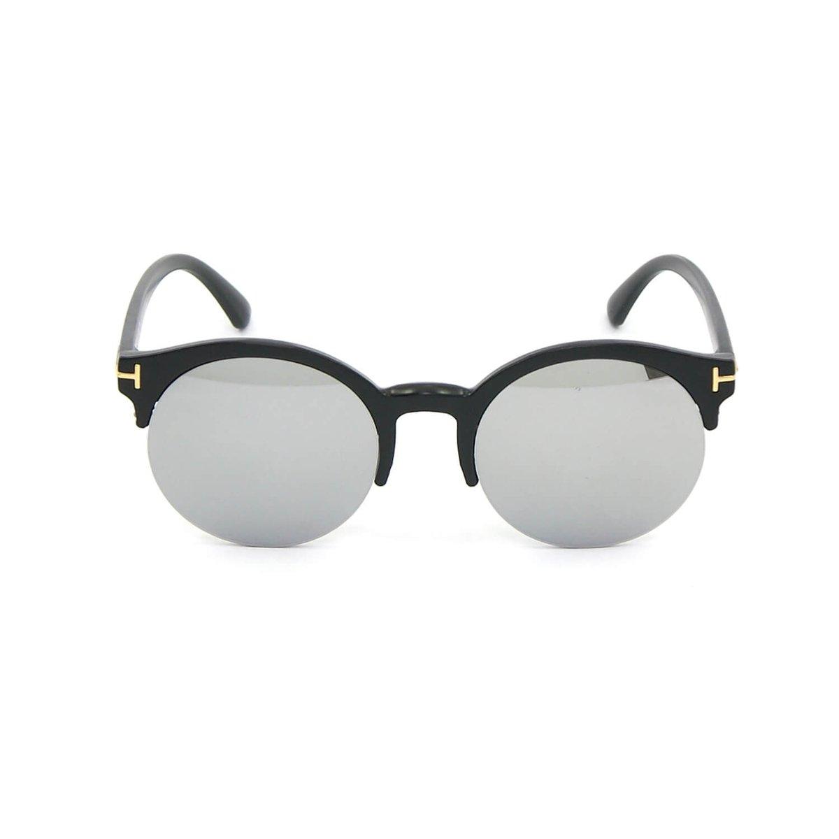 86970b54f1e97 Óculos Redondo Preto com Lente Espelhada - Preto - Compre Agora ...