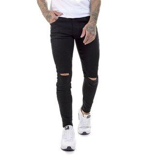 OFFERT Calça OFFERT Jeans Rasgada Skinny Com Lycra Preta 48