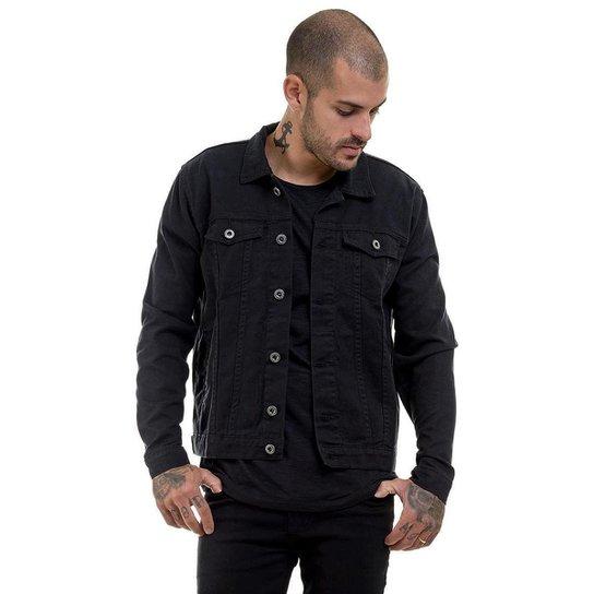 OFFERT Jaqueta Jeans Premium Slim Fit Masculina - Preto