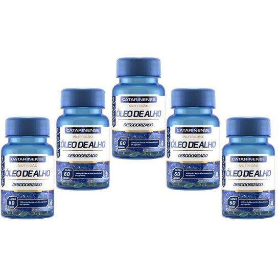 Óleo de Alho Desodorizado 500mg 5x Com 60 Cápsulas Catarinense - Azul