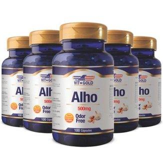 Óleo de Alho Odor Free 500mg - 5 unidades de 100 Cápsulas - VitGold