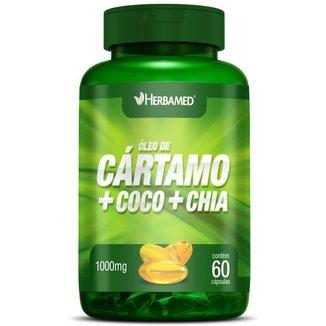 Óleo de Cártamo + Coco + Chia   60 Cápsulas   Herbamed