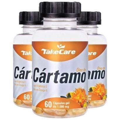 Óleo de Cártamo com Vitamina E - 3 unidades de 60 Cápsulas - Take Care - Unissex