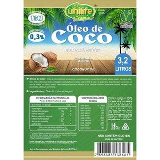 Óleo de Coco Extra Virgem 3,2 Litros Unilife