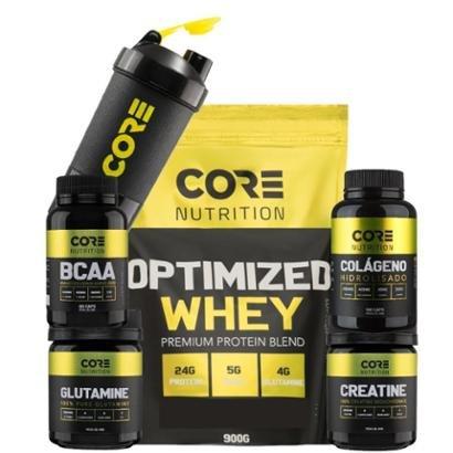 Optimized Whey + BCAA + Crea + Gluta + Colágeno + Shaker Core Nutrition