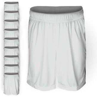 Pack 10 Calções AX Esportes Poliéster Liso Branco