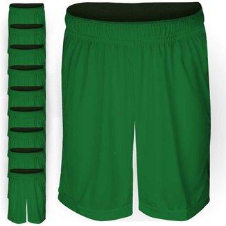 Pack 10 Calções AX Esportes Poliéster Liso Verde