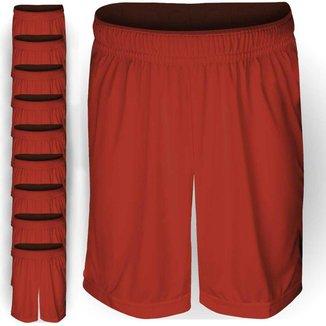 Pack 10 Calções AX Esportes Poliéster Liso Vermelho