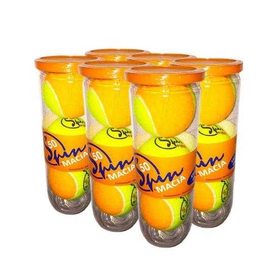 Pack de Bola de Tênis Spin Soft 50 Pack com 6 Tubos SPIN - Amarelo+Laranja