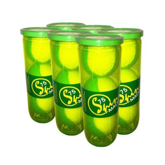 Pack de Bola de Tênis Spin Soft 75 Verde Pack com 6 Tubos SPIN - Amarelo+Verde