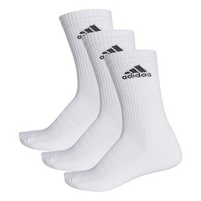 Pacote Meia Adidas Cushion 3S Cano Alto com 3 Pares