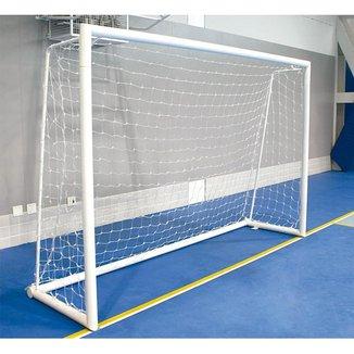Par de Redes para Traves de Gol Futsal Fio 6mm Véu Nylon