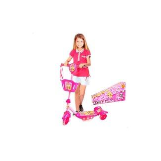 Patinete Infantil - 3 Rodas - Ajustável Com Cesta Luz E Musical - Dm Toys