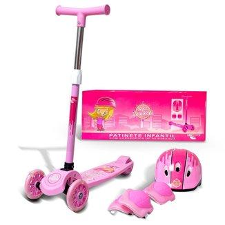 Patinete Infantil 3 Rodas Menina Com Kit De Proteção
