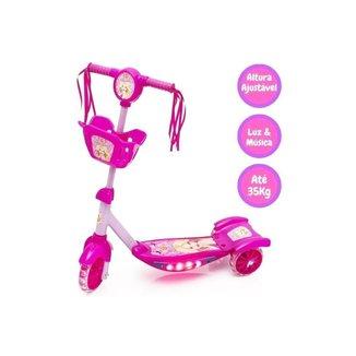 Patinete Infantil Ajustável Meninas 3 Rodas Musical Belinda - Rosa - Dm Toys