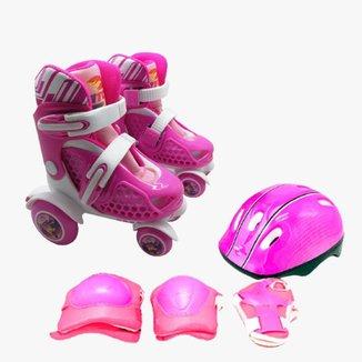 Patins 4 Rodas Ajustável Nº 25 Ao 28 + Kit De Proteção Rosa