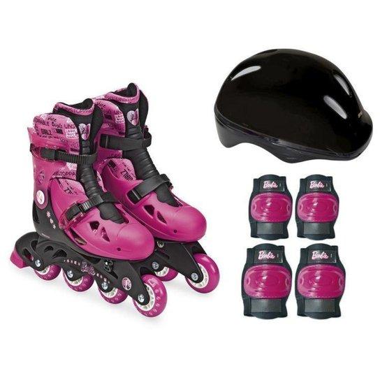 Patins In Line Infantil Fun Barbie - Rosa+Preto