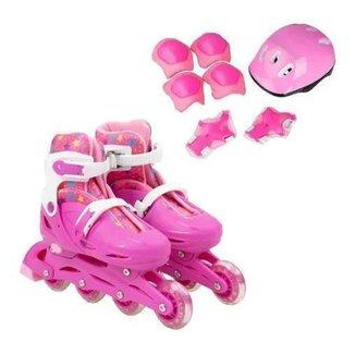 Patins Roller 4 Rodas Infantil Ajustavel Menina 35 Ao 39