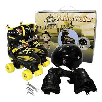 Patins Roller Infantil 4 Rodas Unitoys Com Kit De Proteçao
