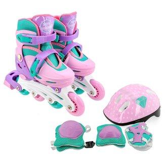 Patins Roller Infantil Feminino 30-33 + Kit de Proteção
