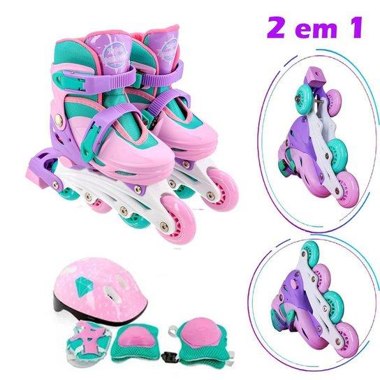 Patins Roller Infantil Feminino 30-33 + Kit de Proteção - Rosa Bebê