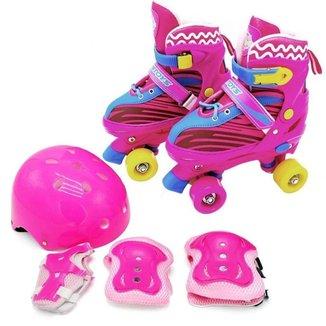 Patins Roller Quad Infantil Rosa + Kit De Proteção - Tamanho ajustável 30 ao 33