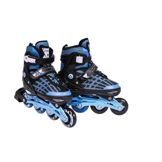 Patins Rollers InLine Aluminium Premium Bel Sports - Preto+Azul